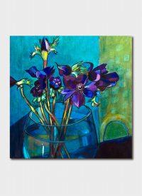 Anemones in Blue Vase