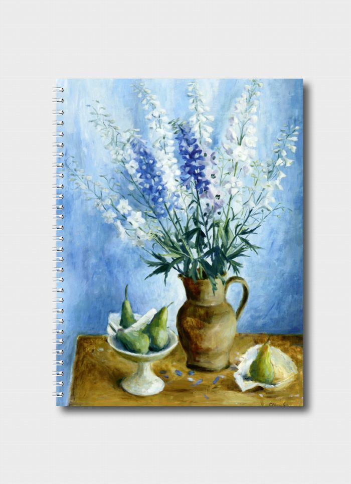 Delphiniums And Pears By Margaret Olley
